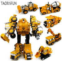 2 in 1 Alloy Engineering Transformation Robot Car Deformation Toy Metal Alloy Construction Vehicle Truck Assembly Robot For Kid