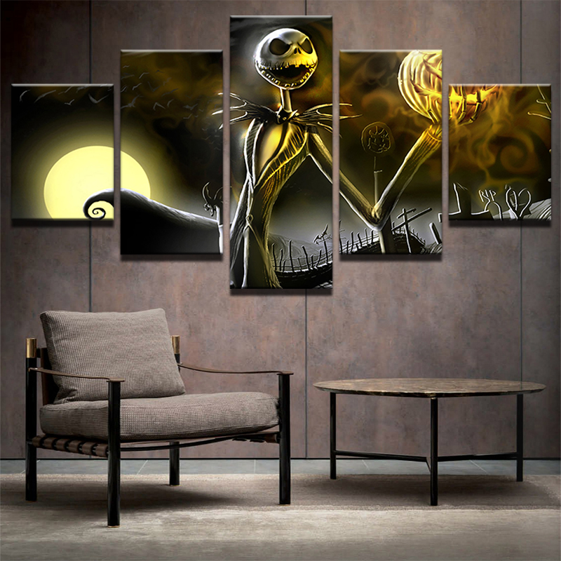 Canvas Wall Art Pictures Frame Home Decor Living Room Halloween Poster 5 Pieces Hd Printed Nightmare Before Christmas Painting
