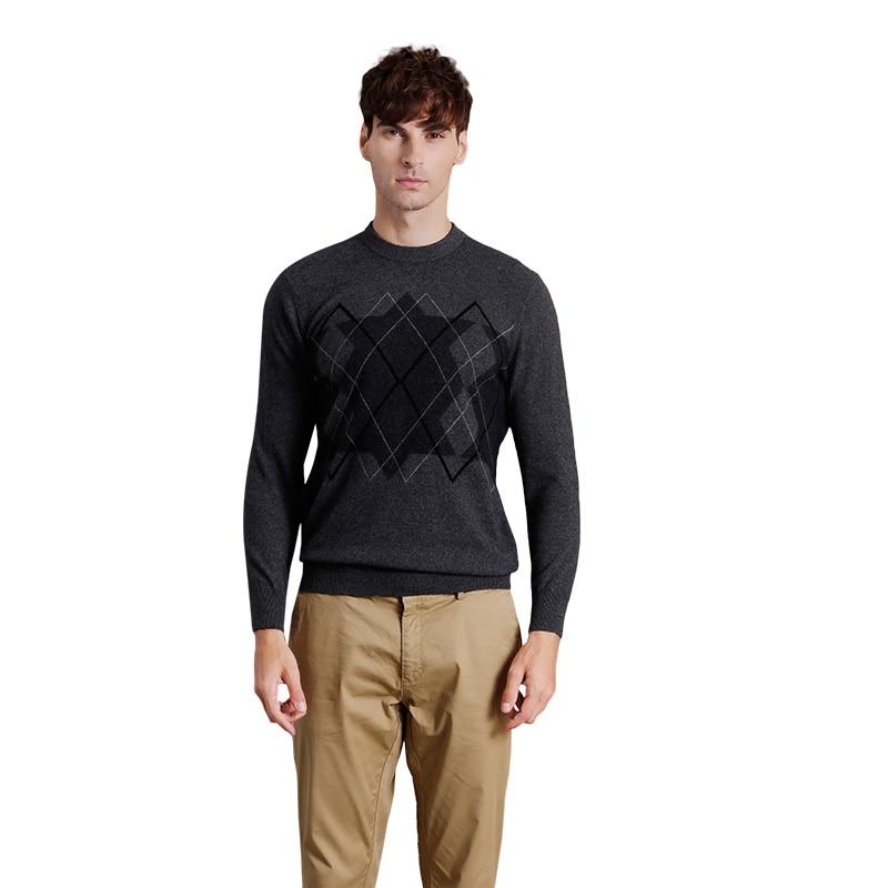 Men's Autumn Winter Slim Fit Round Neck Cashmere Sweater