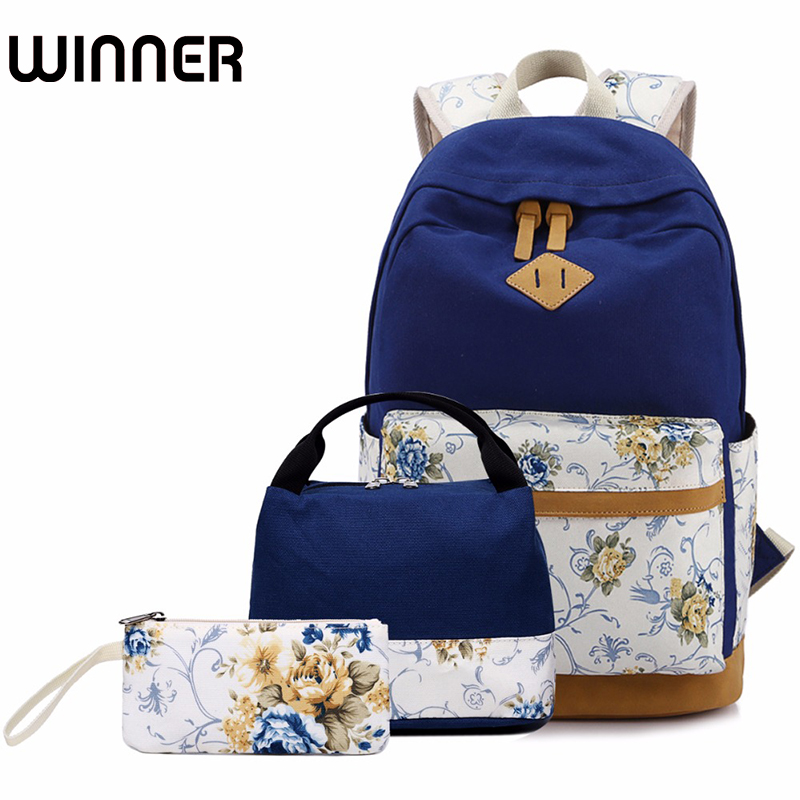 3pcs/set Women Backpacks Floral Canvas Printing Backpack Schoolbag Teenager Girl Rucksack for Lunch Box college girl canvas 3pcs backpack letters printing women usb school backpacks schoolbag for teenagers student book shoulder bags
