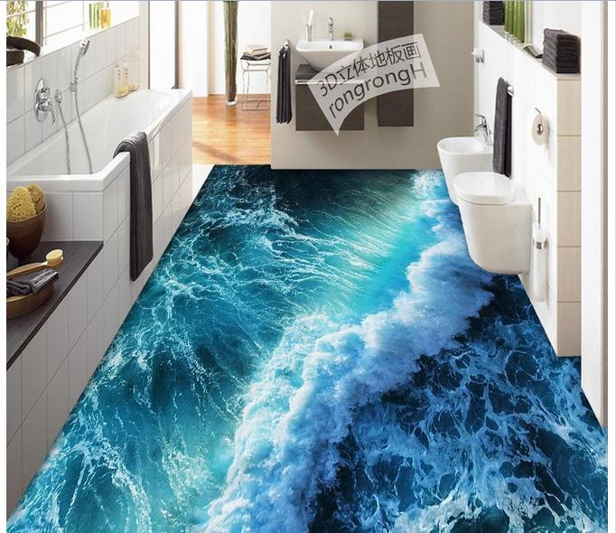 Personnalisé 3d plancher papier peint 3D été vagues plancher 3d mural PVC papier peint auto-adhérence sol wallpaer pour salon décor