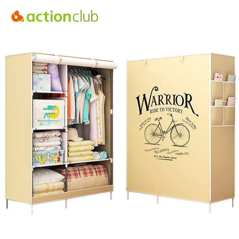 Actionclub Clothes Cabinet Non-woven Closet Fabric Wardrobe Folding Cloth Wardrobe Large Storage Rack Bedroom Furniture