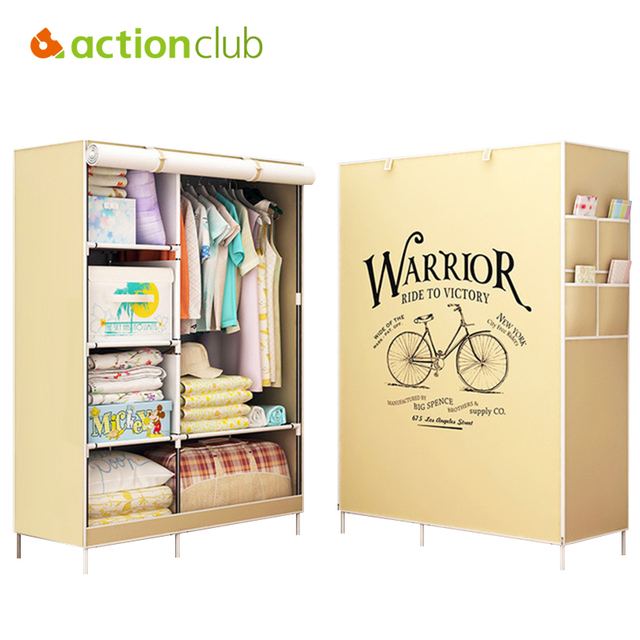 Actionclub Clothes Cabinet Non Woven Closet Fabric Wardrobe Folding Cloth Large Storage Rack Bedroom Furniture