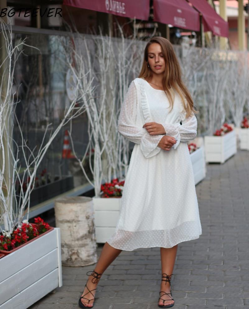 BGTEEVER Ruffles Polka Dot Women Chiffon Dress Elastic Waist Flare Sleeve Female Long Vestidos A-line White Dress 19 8