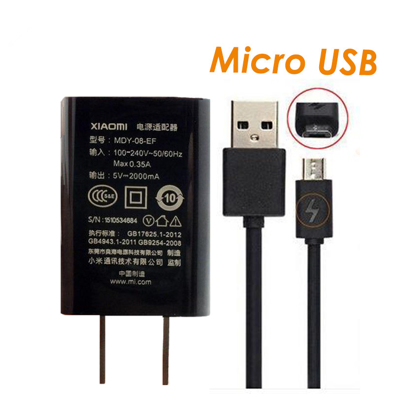 Travel Original Mi Charger 1Ports 5V 2A Chargers Adapter Micro USB Cable for xiomi Xiaomi Mi/2/3/4 RedMi 4X 4A Note 2/Note 3 4