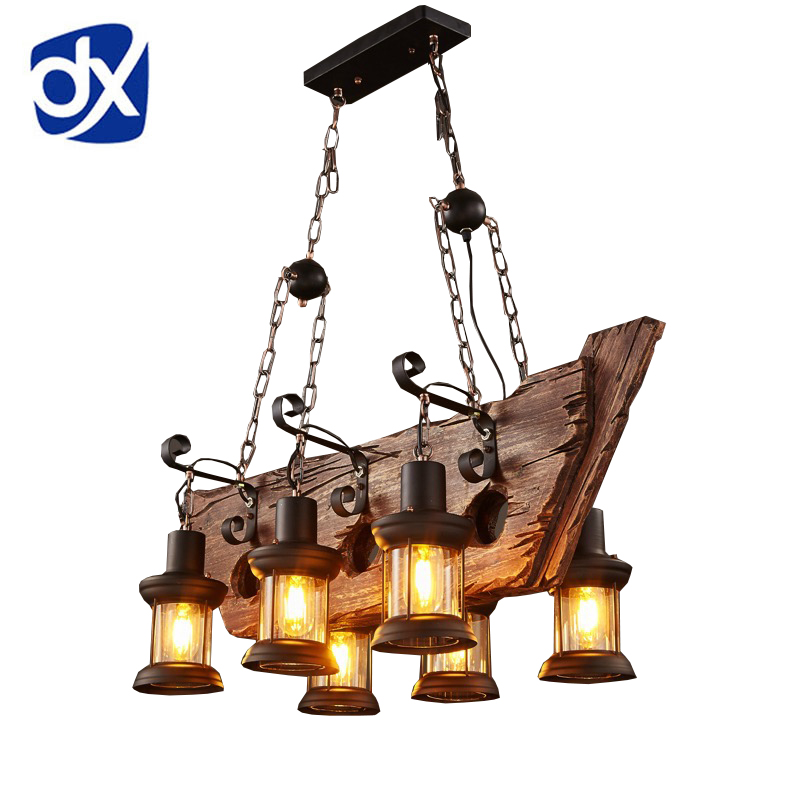 Factory Outlet Retro Industrial Pendant Lamp 6 head Old Boat Wood Light American Country style Edison Bulb Free Shipping mentor old slit lamp 12v 50w p44s inamimentor burton slit bulb 12v50w free shipping