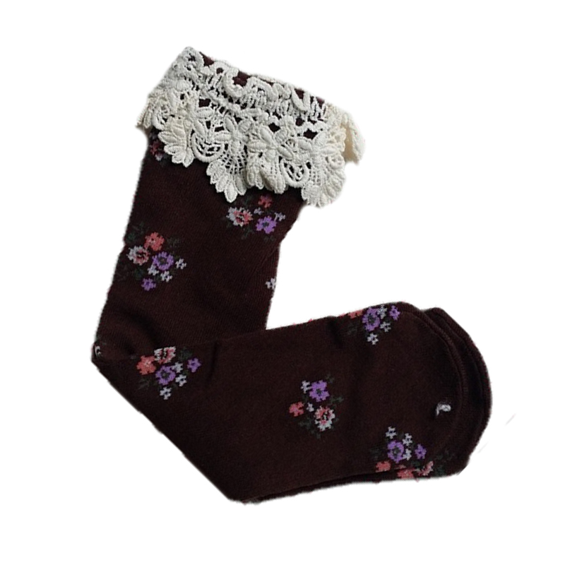Baby Girls Teens Little Lace Flower High Socks Knee High In Tube Socks-In Tights  Stockings -6493
