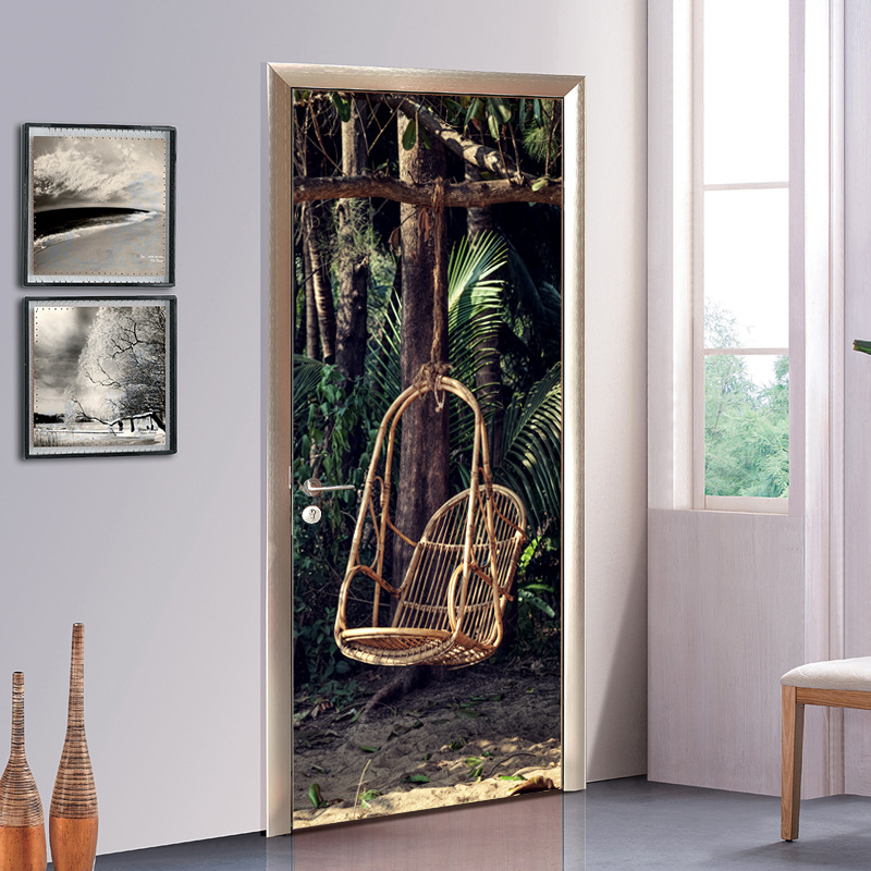 Creative DIY 3D Door Stickers Wallpaper Wall Sticker Forest Wicker Chair Pattern Accesso ...