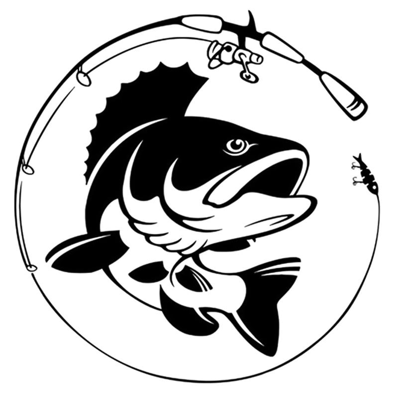 14.1CM*14.3CM Fishing Rod Hobby Fish Vinyl Car Sticker Black White