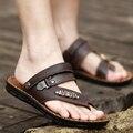 Hombres sandalias de cuero de verano transpirable zapatillas 2016 nueva anfibio fresco tanga masculina antideslizante zapatos casuales
