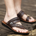 summer men sandals leather breathable slippers 2016 new amphibious cool male thong antiskid casual shoes