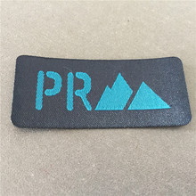 Factory Price Custom 2.7*6cm Garment Fancy Cutting Woven Patch with Black Fusing Backside