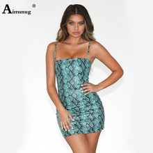Aimsnug Spaghetti Strap Printed Snake  Ladies Mini Dress Zipper Backless Strapless 2019 Summer New Blue Women Bodycon Dress цена 2017