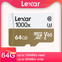 Lexar SD Card 150MB/s 64GB 128GB 32GB 256GB 4K SDHC U3 V60 High Speed TF Memory Card With Card Reader for Drone Sport Camcorder