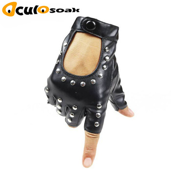 2019 New Women Rivets PU Leather Gloves Semi-Finger Mens Rivet Belt PU Gloves Sexy Cutout Fingerless Gloves women rivets leather gloves semi finger mens rivet belt pu gloves sexy cutout fingerless gloves