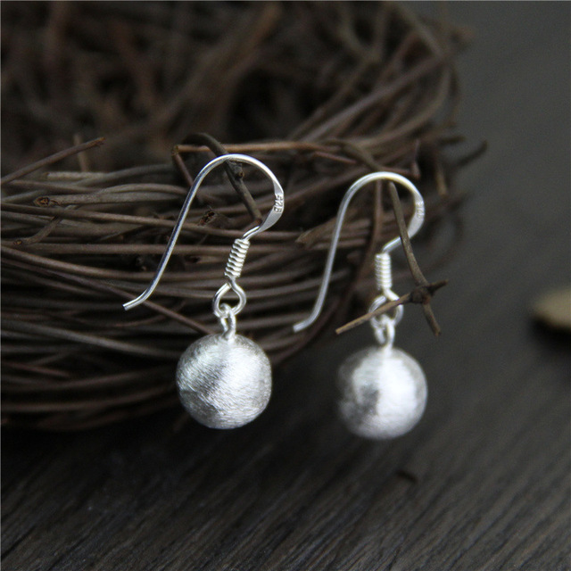 Handmade Thai Silver Earrings For Women S925 Sterling Bead Brushed Surface Simple Ethnic Style