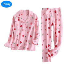 Купить с кэшбэком iAiRAY child sleepwear kids pajamas sets autumn winter cotton fabric nightwear christmas pajamas for girls pyjamas kids clothes