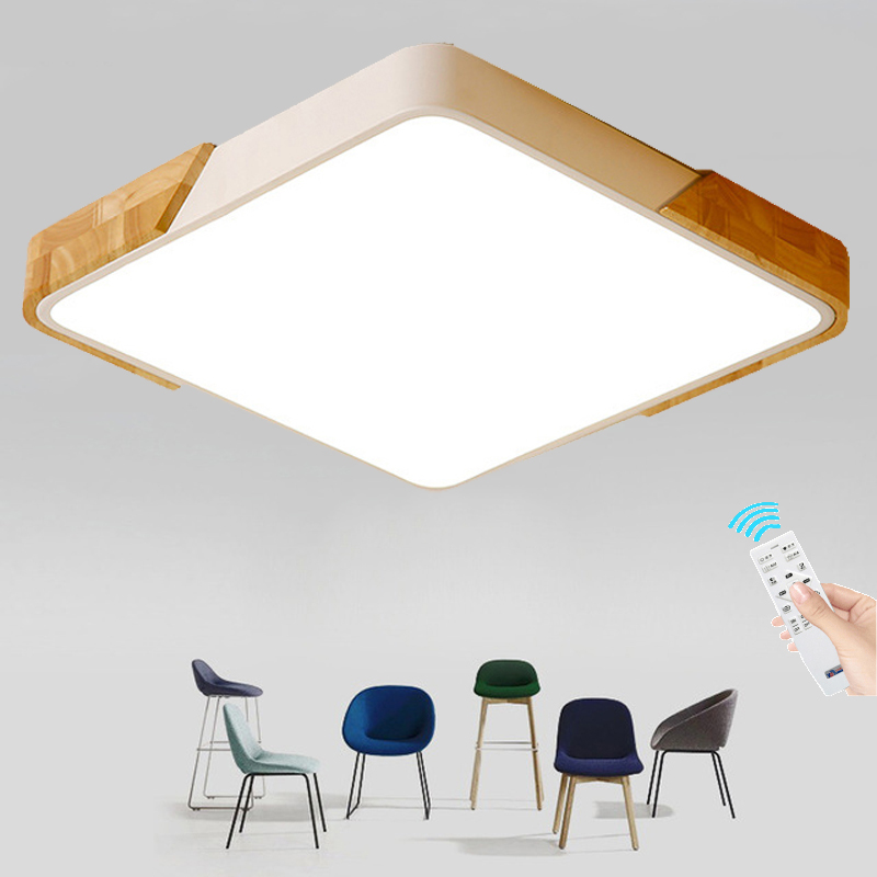 Square Wooden LED Ceiling Lights With Remote Control Macaron color Ceiling Lamp For Living Room Dining Kitchen Lighting Fixtures