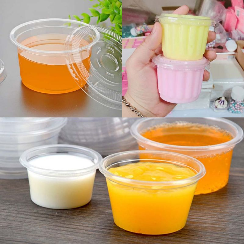 10Pcs Disposable Cups Set Of 300ml Sauce Pot Container Jello Shot Cup Slime Storage With Lid For Ketchup