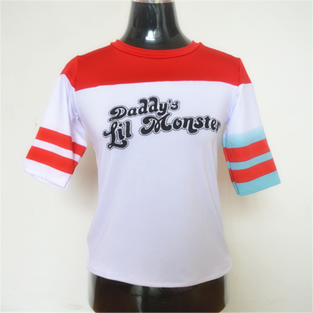 Suicide Squad Harley Quinn Daddy's Lil Monster camiseta 2016 Harley Quinn Cosplay traje mujer t-shirt