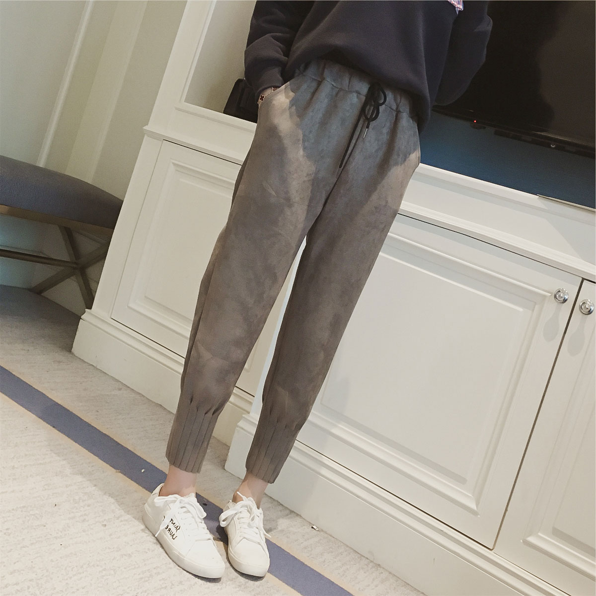 women pants leather Suede high waist Harem pants Women sweatpants streetwear casual pants Autumn chic black winter trousers Брюки