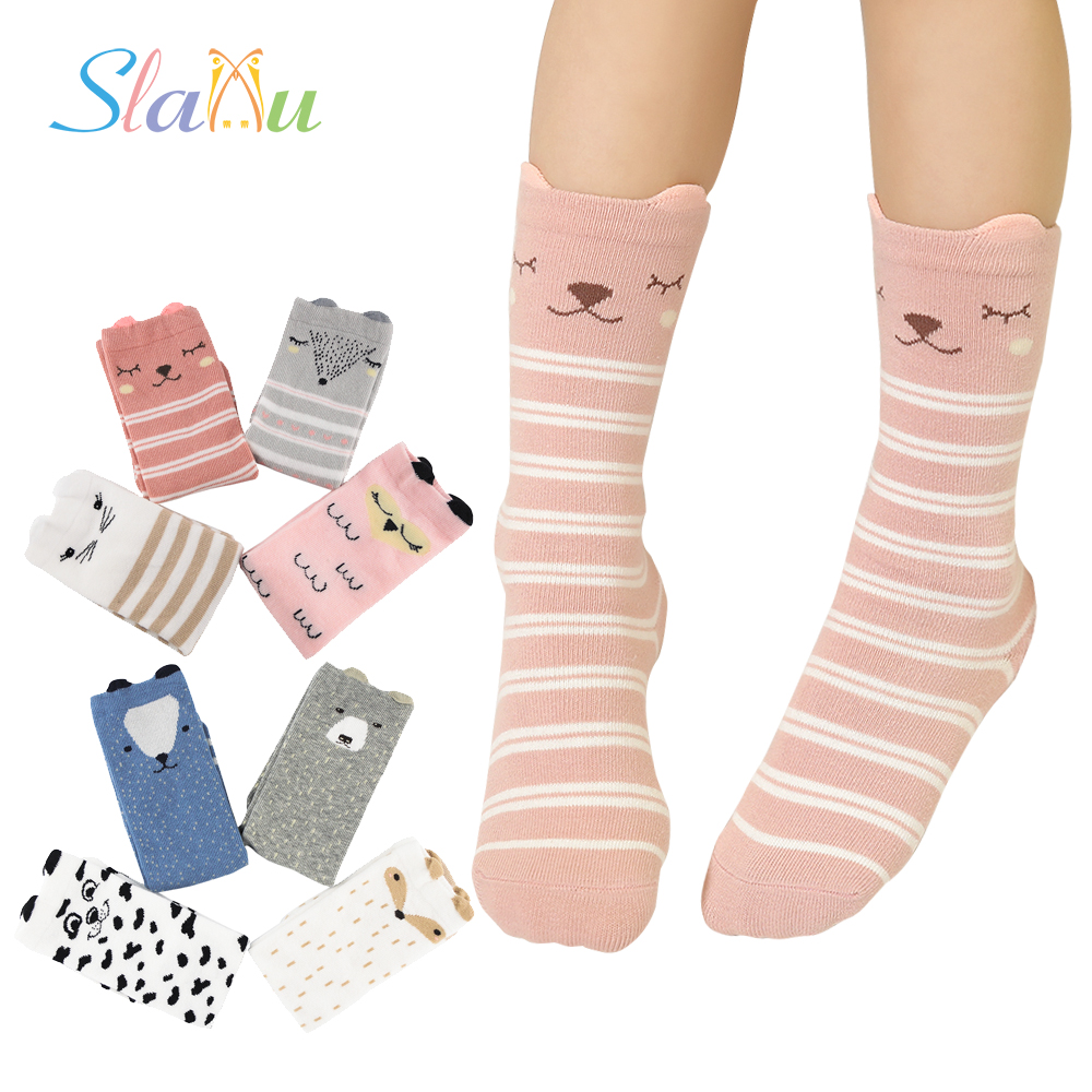 4-Pack Cute Animal Kids Socks Non-Slip Children's Baby Long Socks for Boy Girls Fox Dog Cat 3D Kid Clothing 8 Style for 1-6 Year цена