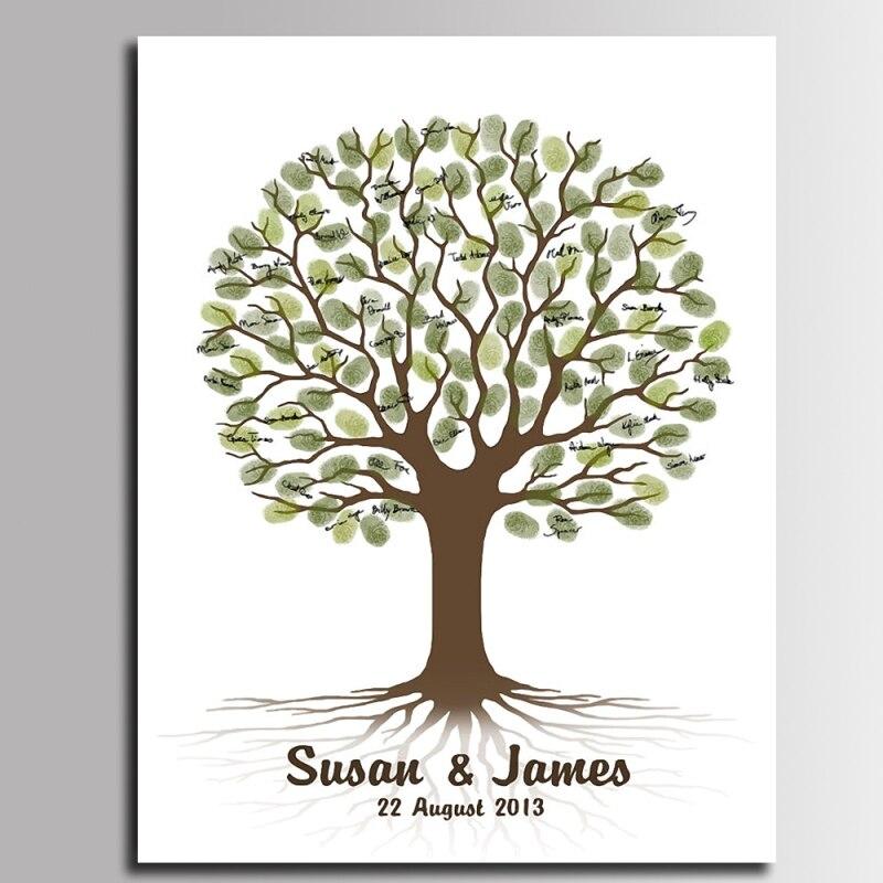 C Fingerabdruck Baum Hochzeit G/ästebuch Poster DIY Gast Unterschrift Anmelden Buch Fingerabdruck Baum Gem/älde f/ür Hochzeit Geburtstagsfeier