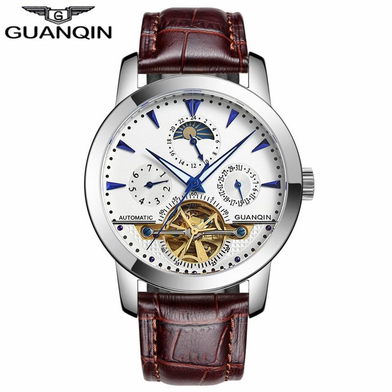 Guanqin 기계식 시계 남성 뚜르 비옹 가죽 스트랩 사파이어 자동 기계식 시계 방수 자동 태엽 시계-에서기계식 시계부터 시계 의  그룹 3