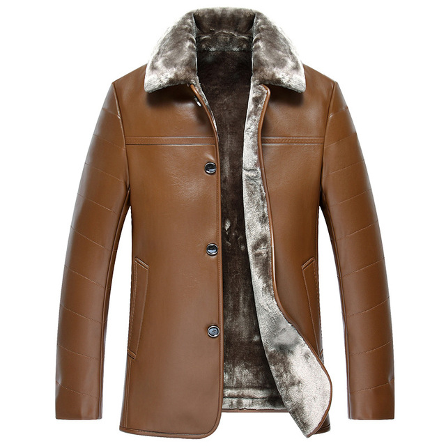 2016 winter fur collar men Quality leather long middle-aged men's leather jacket fleece thick coat Single breasted