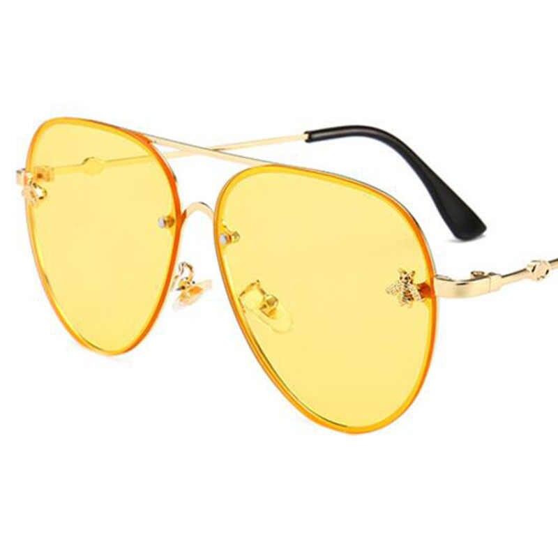 Bee Pilot Sunglasses Vintage Glasses Shades For Women Men Metal Frame Fashion New Designer Sunglasses Women 2019 High Quality