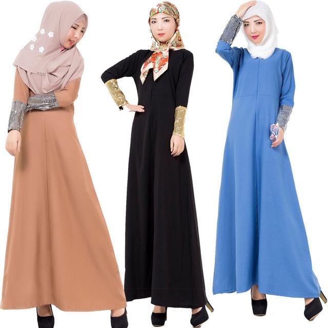 2016 Мусульманин абая платье для женщин Исламского платья дубай кафтан Исламская одежда Мусульманская абая Платье турецкий джилбаба хиджаб 401