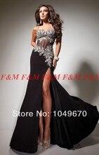 2016 schwarze Perlen Abendkleider Frauen Reizvoller Schatz-kristalle Split Chiffon Korsett Lange Prom Kleider F & M940