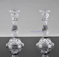031821 Creative Classical Transparent Crystal Glass Candlestick Candle Holder Inserted Rod Wax