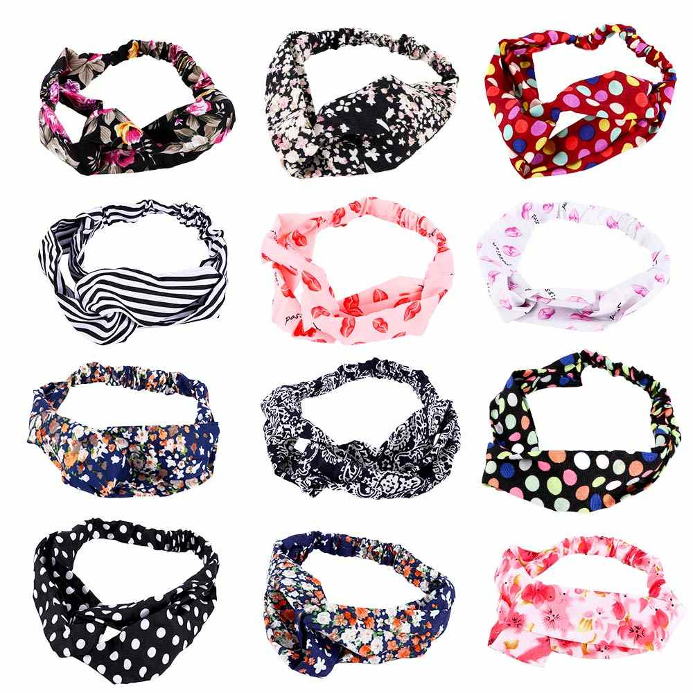 1PC Floral Twisted Stretchable Knotted Hair Band Colorful Head Wrap Yoga Elastic Turban Headband Hairband Accessories for Women