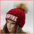 NEWYORK alphabet winter embroidery super big pom pom fur beanies genuine raccoon fur warm knitted beanies multicolor fur hat