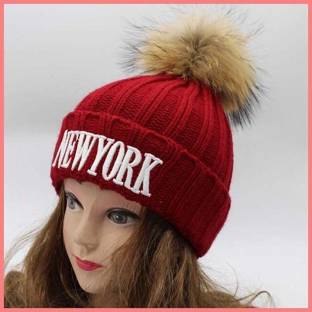 NEWYORK alphabet winter embroidery super big pom pom fur beanies genuine raccoon fur warm knitted beanies multicolor fur hat