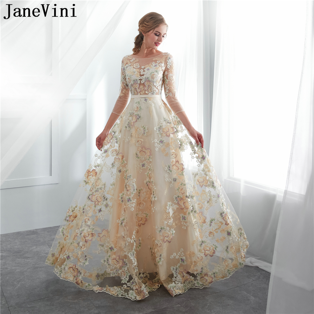 JaneVini 2018 Champagne Long Bridesmaid Dresses A Line Exquisite Embroidery Appliques Zipper Back Floor Length Tulle Prom Gowns