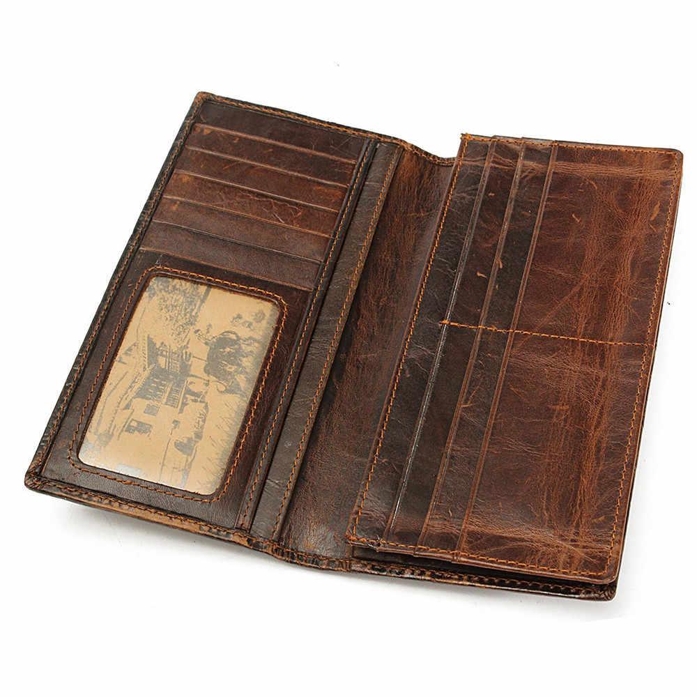 Osmond Vintage ของแท้หนังผู้ชายกระเป๋าสตางค์การออกแบบที่ไม่ซ้ำกันรูปแบบมังกรจีนชายพับยาวสั้นกระเป๋าถือ