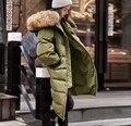 Real Natural de piel de Mapache Con Capucha de Piel Abrigos su-y-el suyo de amantes de la ropa verde Del Ejército Negro de Down Parka Abrigos para mujer Chaquetas de Down