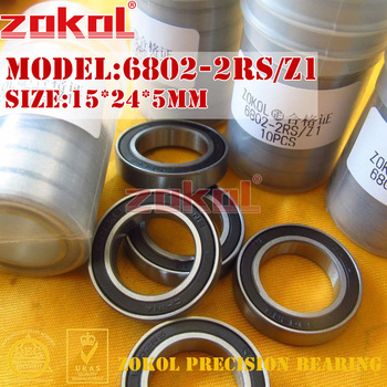 ZOKOL 6802 RS Z1 bearing 6802 ZZ 2RS Z1 6802ZZ/Z1 Deep Groove 6802RS ball bearing 15*24*5mm image