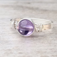 Silver Wire Wrapped Amethyst Ring Handmade Sterling Silver Filled Ring Vintage Unique Designs For Women Gift
