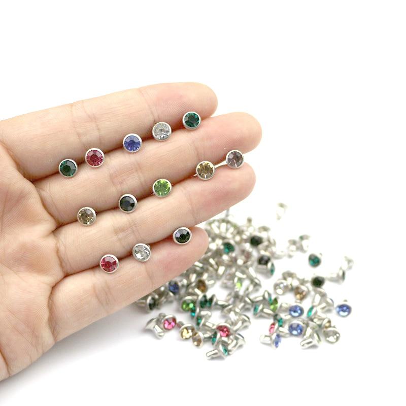 50Pcs/bag 6mm Rhinestone Crystal Rivets DIY Clothing Bag Leather Crafts Decoration Garment Sewing Glass Drill Nail Button