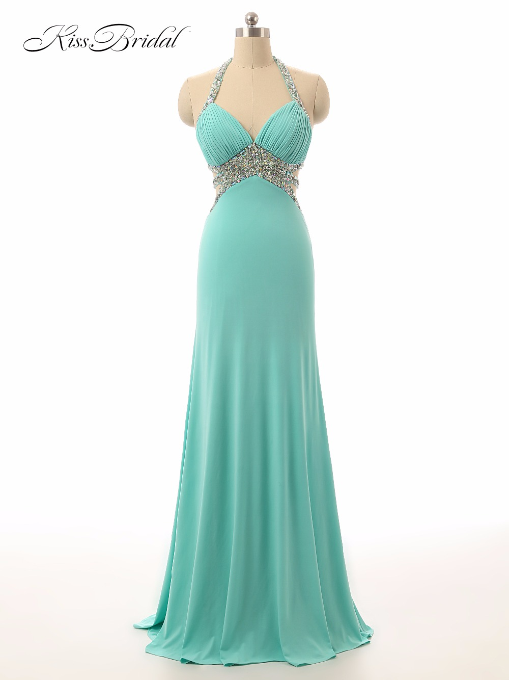 New Long Prom Dresses 2017 Halter Neck A Line Floor Length Beaded Crystals Sexy Women Formal Evening Party Dresses