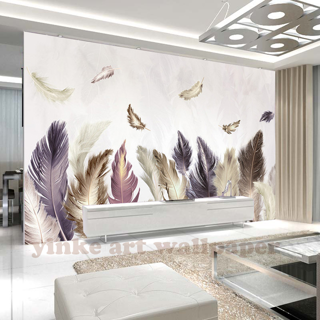 Benutzerdefinierte 3D Fototapete Modernen goldenen feder Wandbild ...
