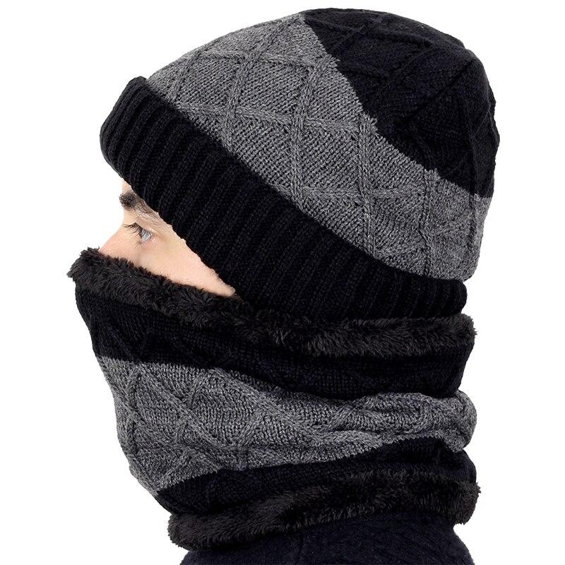 Outdoor Brand Knitting Beanie Hat Scarf Men s Winter PlaidVelvet Scarf Thicken Hedging Cap Scarves Warm Ski Bone@Wine