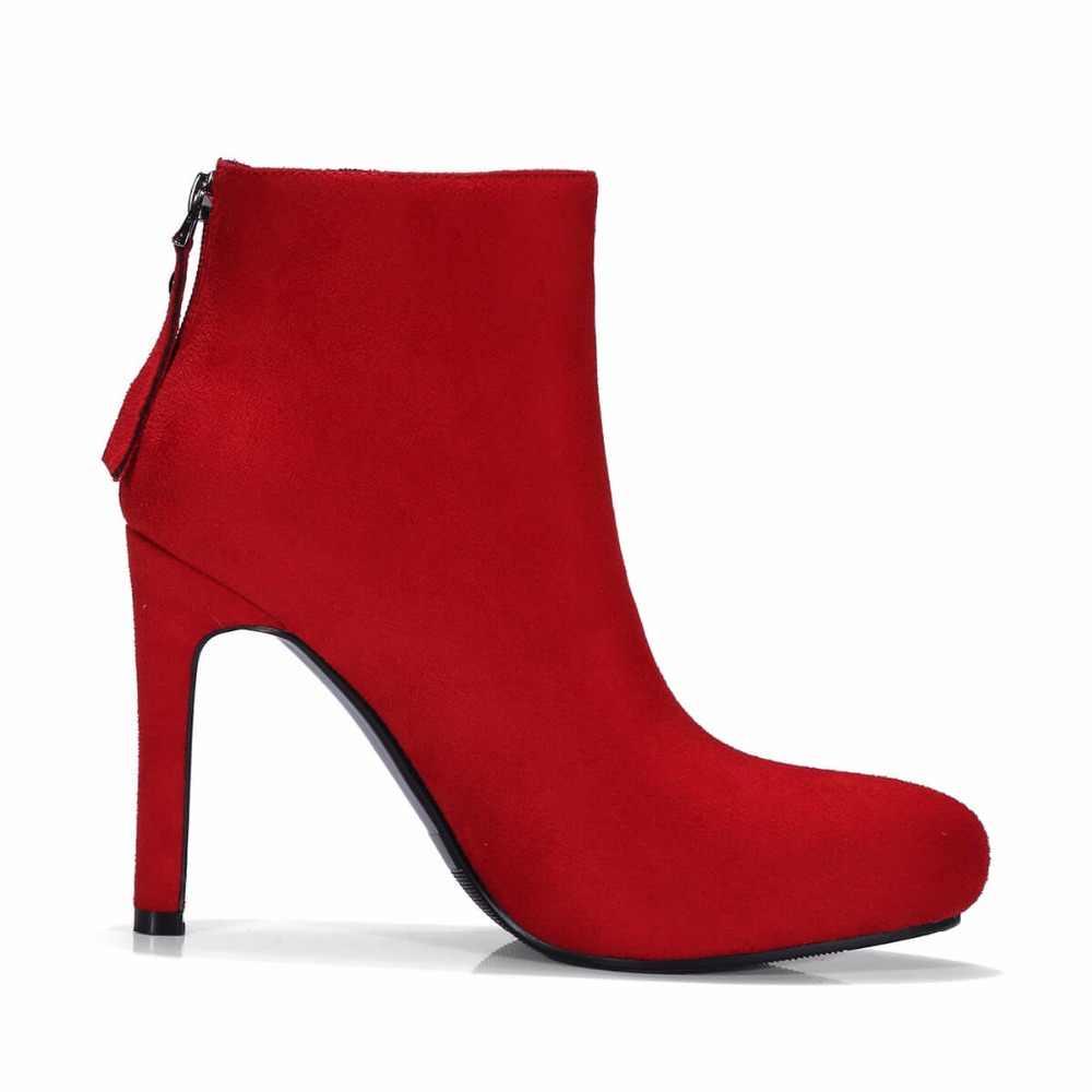 Sahte Süet Kış Platformu Ince Yüksek Topuk yarım çizmeler Moda Zip Yuvarlak Ayak Ayakkabı Kadın Siyah Red Apricot