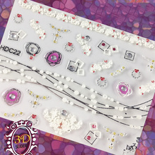 3D Nail Art Sticker Decals 24 Mixed Irregular Shape Flower Pattern Stickers Design Manicure Decoration Tool