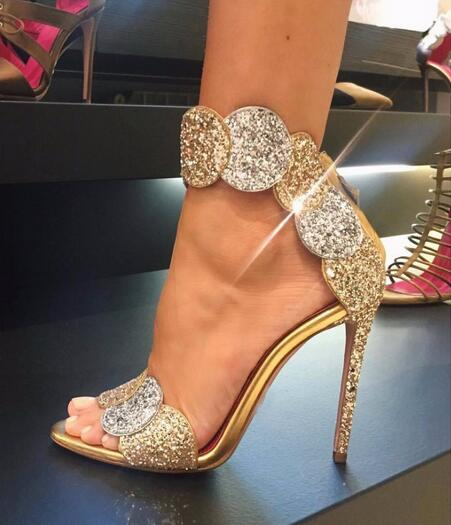 4fcd6a2eb88 US $75.99 |Luxury Gold Bling Bling Glitter Embellished High Heel Sandal  Summer Open toe Woman Shoes Ankle Strap Gladiator Sandal Shoes-in High  Heels ...