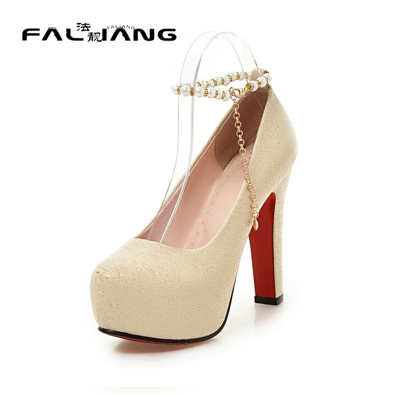 ФОТО Big Size 11 12 13 Sexy String Bead Casual Square heel Women's Shoes Extreme High Heels Pumps Woman For Women Platform Shoes