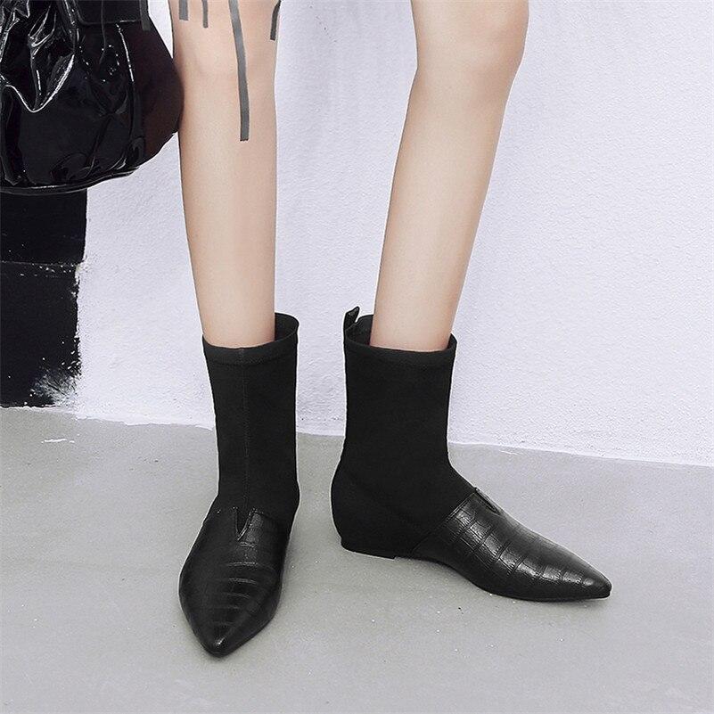 Mujer De Pantorrilla Tacón Conasco Zapatos Media Invierno Para Botas Otoño Punta Estrecha Fiesta Mujer Negro Boda Marca xqRwYpEEnd